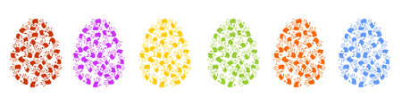 Colorful eggs made of handprints
