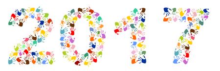 The number 2017 made of colorful handprints Ilustração