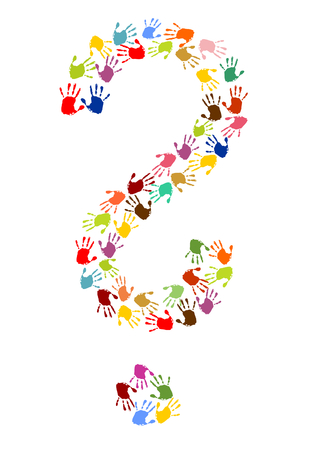 Question mark made of colorful handprints.