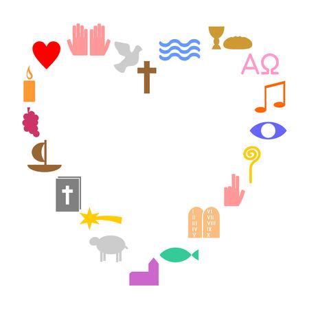 Herz aus bunten christlichen Symbole Standard-Bild - 74634577