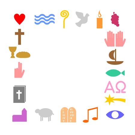 광장 다채로운 기독교 기호로 만든