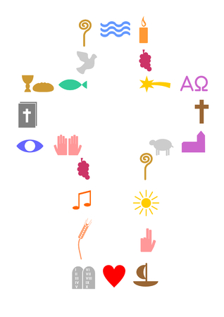 Buntes Kreuz aus christlichen Symbolen. Standard-Bild - 75412682