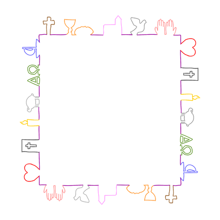 Bunte Rahmen aus Christian Symbolen. Standard-Bild - 75413159