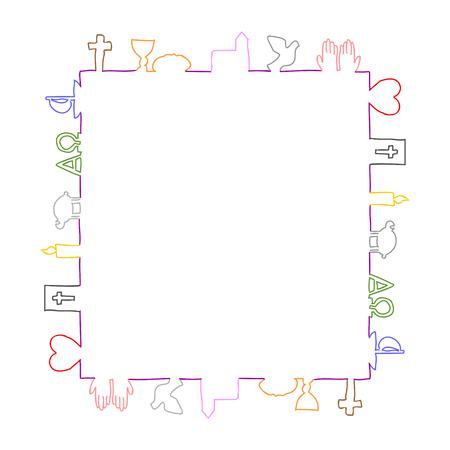 Colorful frame made of christian symbols.