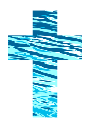 Cross made of blue water.