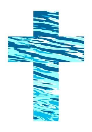 Kreuz aus blauem Wasser. Standard-Bild - 75415376