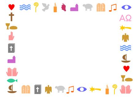 Rechteckrahmen aus bunten christlichen Symbolen. Standard-Bild - 75745181