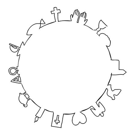 Round frame made of christian symbols Ilustração