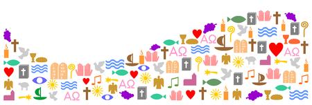wave made of colorful christian symbols Ilustração