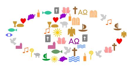 Eye made of colorful christian symbols Illustration