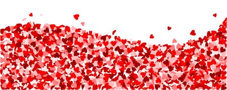 Background, wave made of red hearts Ilustração