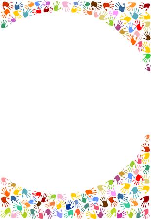 Background, circle frame made of colorful handprints Ilustração