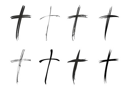 Black christian cross Ilustração
