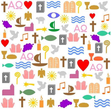 Bunte christliche Symbole Standard-Bild - 83746796