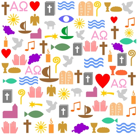Colorful christian symbols Ilustrace
