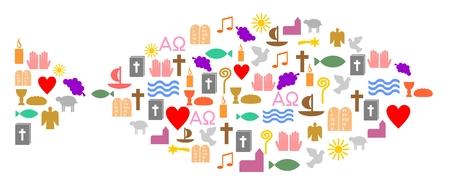 Kleurrijke christelijke symbolen, vis Stock Illustratie