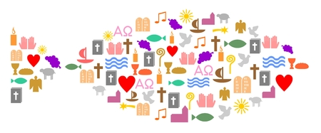 Colorful christian symbols, fish
