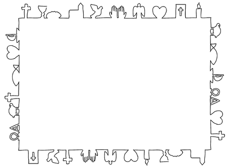 Frame made of christian symbols