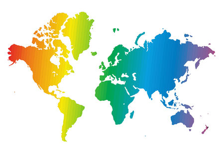 World map made of rainbow colors