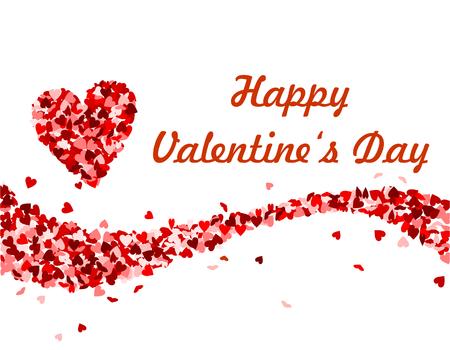 Glücklicher Valentinstag, Text mit roten Herzen Standard-Bild - 93682406