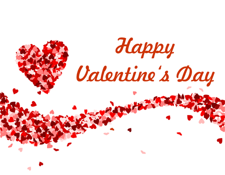 Happy valentines day, text with red hearts
