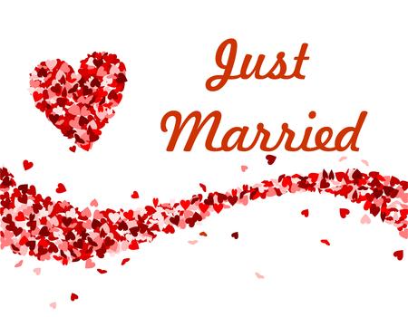 Gerade verheiratet Text mit roten Herzen Vektor-Illustration Standard-Bild - 93709535