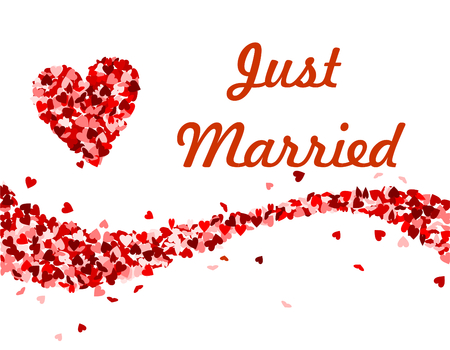 Just married text with red hearts vector illustration