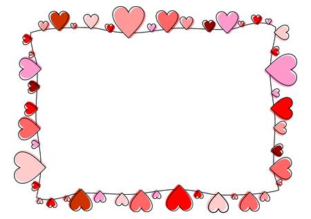 Frame made of red and pink hearts Ilustração