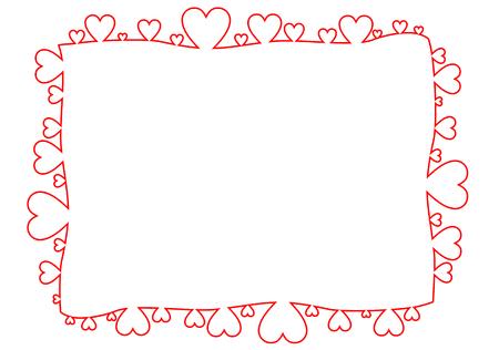 Frame made of red hearts in linear style illustration. Ilustração