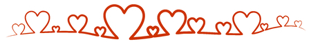 Line, banner made of red outlined hearts illustration.