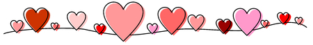 Line, banner made of red, pink hearts illustration.