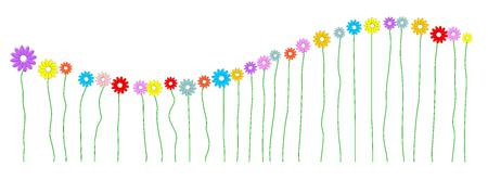 Wave made of colorful flowers. Ilustração
