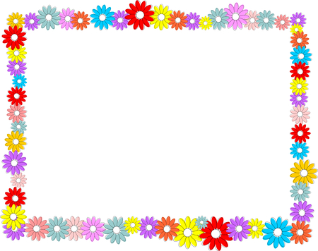 Frame made of colorful flowers.