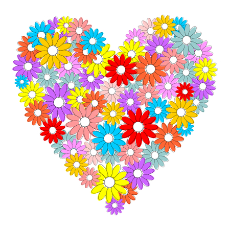Heart made of colorful flowers.