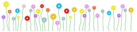 Colorful flowers on the meadow Ilustração