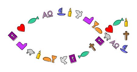 Colorful christian symbols element on shape of a fish Illustration