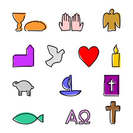 Colorful christian elements symbols illustration