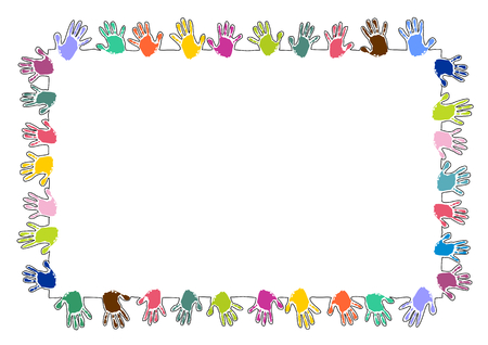 Colorful rectangle frame made of handprints Vettoriali