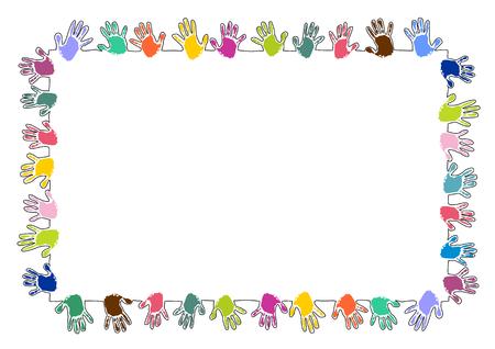 Marco de rectángulo colorido hecho de huellas de manos Ilustración de vector