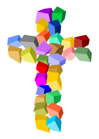 Cross made of colorful cubes Standard-Bild - 104585925