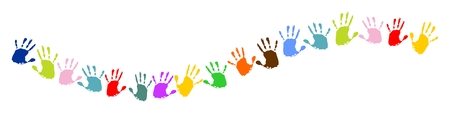 wave, line made of colorful handprints