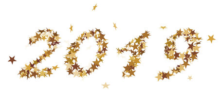 The number 2019 made of golden stars Standard-Bild - 117804537