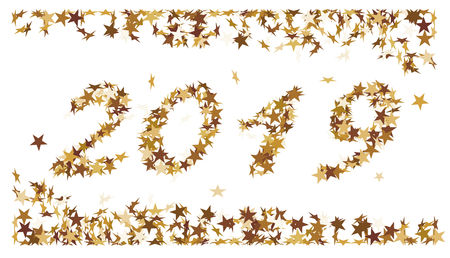 The number 2019 made of golden stars Standard-Bild - 117804540