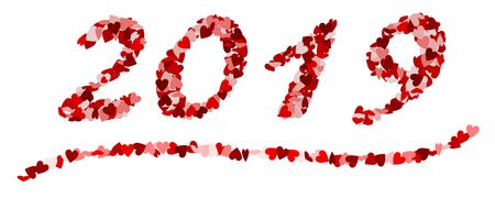 The number 2019 made of red hearts Standard-Bild - 117804541