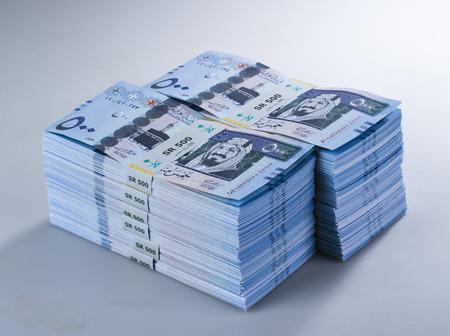 Stacks of Saudi Riyal Banknotes of 500 with image of King Abdulaziz Closeup