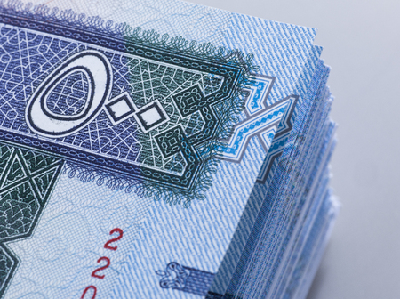 Saudi Riyal Banknotes of 500 extreem closeup detail