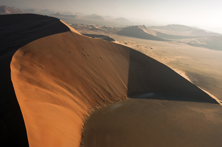 Aerial view of sand dunes at Rub Al Khali desert Stock Photo