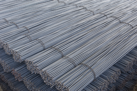 Steel Bars, Construction Material for Concrete, Stacked in a Plant Store Stock Photo