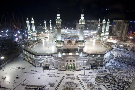 Prayer and Tawaf of Muslims Around AlKaaba in Mecca, Saudi Arabia, Aerial Top View