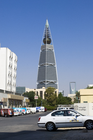 Landmarks Skyscrapers and Buildings of Riyadh, Saudi Arabia Capital City on a Sunny Clear Day Stock Photo